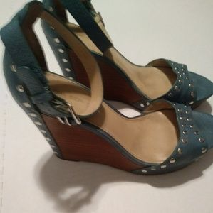 Via Spiga Studded teal leather wedge heels by 7.5